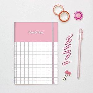 Planner Mensal Mini - Rosa Quadriculado