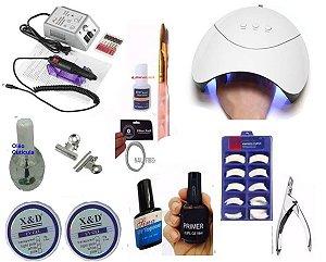Kit Manicure Unhas Gel Led UV X&D + Motor Profissional Fibra