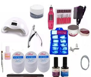 Kit Unhas Gel Acrigel + Lixa Eletrica Cabine Uv Led 48w N10