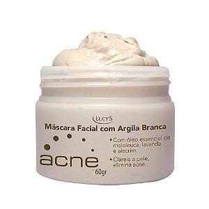 Máscara Facial de Argila Branca c/ Melaleuca Lavanda Alecrim 60g Lucys
