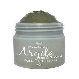 Máscara Facial de Argila Verde Café Ácido Hialuronico Vitamina E 60g Lucys
