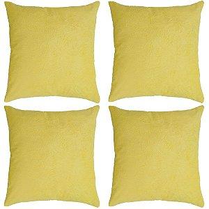 Kit com 4 Capas de Almofadas Decorativas Suede - Amarela