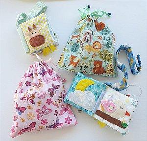 Mini livro do bebê com alça + saquinho de tecido