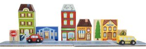 Blocos de montar cidade (Banco/loja/café/escola)