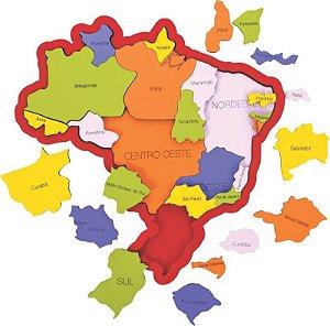 Quebra cabeça mapa do Brasil - Regiões - Estados e Capitais