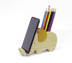 Porta lápis e celular elefante Teodoro