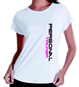 Camiseta baby look feminina Personal Trainer Dry Fit