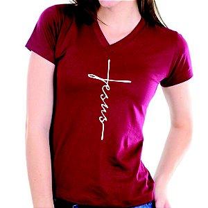 Camiseta baby look feminina Estampa Jesus gola V