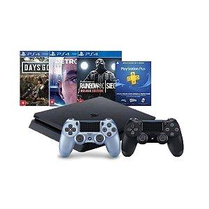 Console Playstation 4 Slim 1TB Hits Bundle 5 c/ 3 jogo e Controle Dualshock 4 Azul Titaniun - Sony