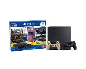 Console Playstation 4 Slim 1TB Hits Bundle 5 c/ 3 jogo e Controle Dualshock 4 Dourado - Sony