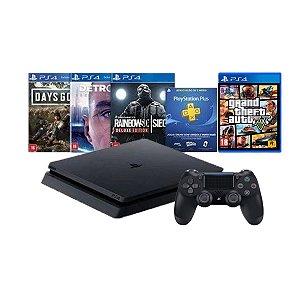 Console Playstation 4 Slim 1TB Hits Bundle 5 c/ 3 jogos e Jogo Grand Teft Auto - Sony
