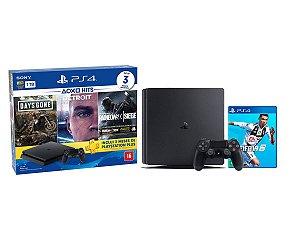 Console Playstation 4 Slim 1TB Hits Bundle 5 c/ 3 jogos e Jogo Fifa 2019 - Sony