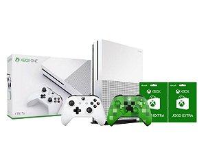 Console Xbox One S 1tb 4k 2 Controles 1 Minecraft e 2 Jogos Extras - Microsoft