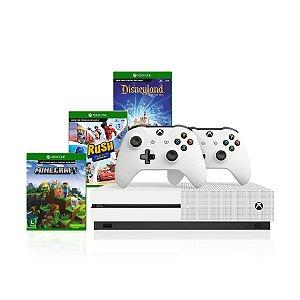 Console Xbox One S 1tb 4k 2 Controles Brancos e Kit Com 3 Jogos Infantis - Microsoft