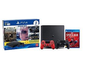 Console Playstation 4 Slim 1TB Hits Bundle 5 c/ 3 jogo e Controle Dualshock 4 Vermelho + Jogo Spiderman - Sony