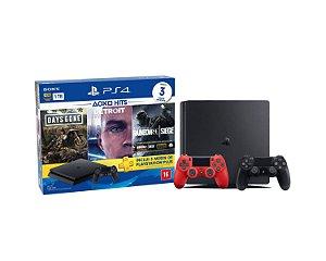 Console Playstation 4 Slim 1TB Hits Bundle 5 c/ 3 jogo e Controle Dualshock 4 Vermelho - Sony