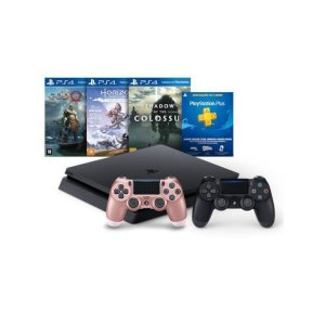 Console Playstation 4 Mega Pack Bundle V4 3 Jogos 2 Controles Dualshock 4 1 Rosa Titanium - Sony