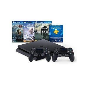 Console Playstation 4 Mega Pack Bundle V4 3 Jogos 2 Controles Dualshock4 Preto - Sony