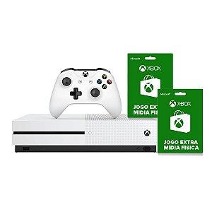 Console Xbox One S 1tb 4k 1 Controle Wireless Branco e 2 Jogos Extras - Microsoft