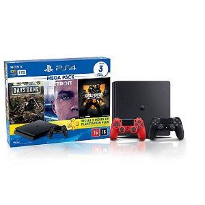 Console Playstation 4 Slim 1TB Hits Bundle 5.1 c/ 3 jogos e Controle Dualshock 4 Vermelho  - Sony