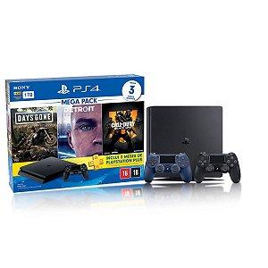 Console Playstation 4 Slim 1TB Hits Bundle 5.1 c/ 3 jogos e Controle Dualshock 4 Azul  - Sony