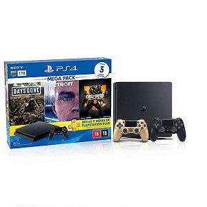 Console Playstation 4 Slim 1TB Hits Bundle 5.1 c/ 3 jogos e Controle Dualshock 4 Dourado  - Sony