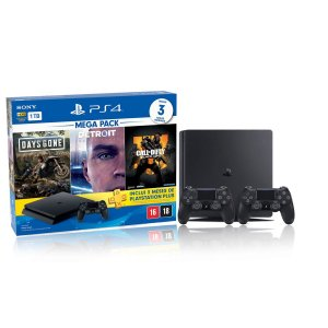 Console Playstation 4 Slim 1TB Hits Bundle 5.1 c/ 3 jogos e 2 Controles Dualshock 4 Preto  - Sony