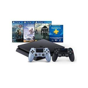 Console Playstation 4 Mega Pack Bundle V4 3 Jogos Controle Dualshock 4 Azul Titanium - Sony