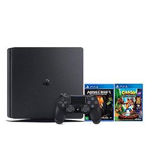 Console Playstatiton 4 1TB Slim + Controle DualShock 4 Com Dois Jogos Infantis - Sony
