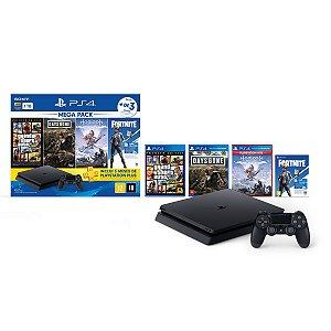 Console Playstation 4 Mega Pack Bundle V6 c/ 3 jogos e Vbucks - Sony