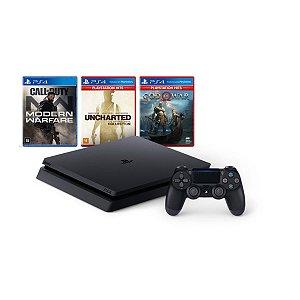Console Playstation 4 Mega Pack V7 c/ 3 jogos 1 Controle DualShock 4 Preto - Sony