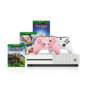 Console Xbox One S 1tb 4k 1 Controle branco + Controle Minecraft e Kit Com 3 Jogos Infantis - Microsoft