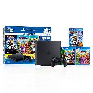 Console Playstation 4 Mega Pack V8 c/ 3 jogos - Sony