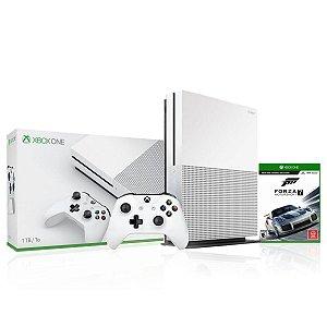 Console Xbox One S 1tb 4k Com 1 Controle Branco e Jogo Forza MotorSport 7 - Microsoft