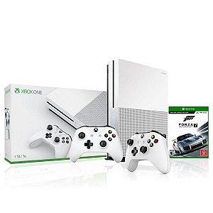 Console Xbox One S 1tb 4k Com 2 Controles Branco e Jogo Forza MotorSport 7 - Microsoft