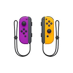 Controle Nintendo Joy-Con (Esquerdo e Direito) Roxo Neon/Laranja Neon - Switch