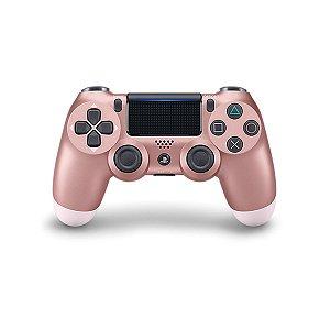 Controle Joystick Ps4 Sem Fio Dualshock 4 Original Rosa Dourado - Sony