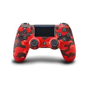 Controle Joystick Ps4 Sem Fio Dualshock 4 Original Red Camouflage - Sony