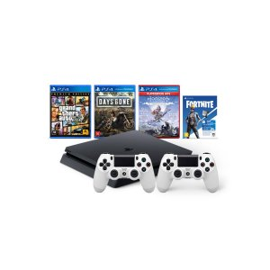 Console Playstation 4 Mega Pack Bundle V6 c/ 3 jogos Vbucks 2 Controles Brancos- Sony