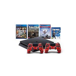 Console Playstation 4 Mega Pack Bundle V6 c/ 3 jogos Vbucks 2 Controles Red Camuflage- Sony