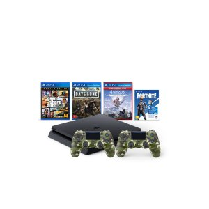 Console Playstation 4 Mega Pack Bundle V6 c/ 3 jogos Vbucks 2 Controles Camuflados - Sony