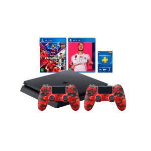 Console Playstation 4 Combo PES e Fifa 2020 2 Controles Red Camo - Sony