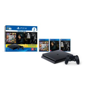 Console PlayStation 4 Slim 1TB Mega Pack Bundle Hits 9 Controle DualShock 4 - Sony