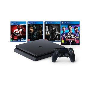 Console PlayStation 4 Slim 1TB Mega Pack Bundle Hits V10 Fifa 19 Controle DualShock 4 - Sony