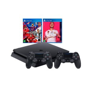 Console Playstation 4 Combo PES e Fifa 2020 2 Controles Pretos - Sony
