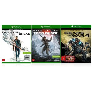 Jogo Game Kit Gears Of War 4 + Rise Of  The Tomb Raider + Quantum Break - Xbox One