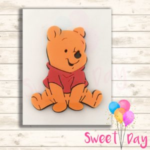 Aplique Acrílico Pooh Colorido 8 cm  ( 05 peças)