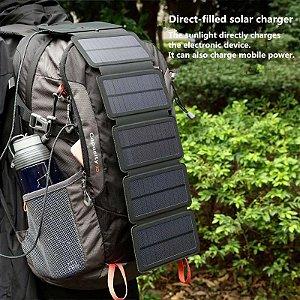 Painel Solar Dobrável 10W Para Carregar Celular Duplo USB