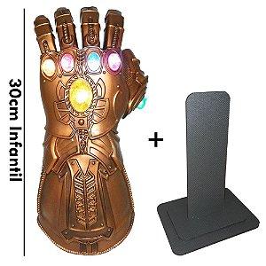 Manopla do Infinito Thanos com Luzes Led Luva Vingadores Alta Qualidade Infantil + Pedestal