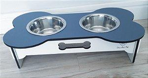 Comedouro duplo para cães potes inox madeira azul e branco